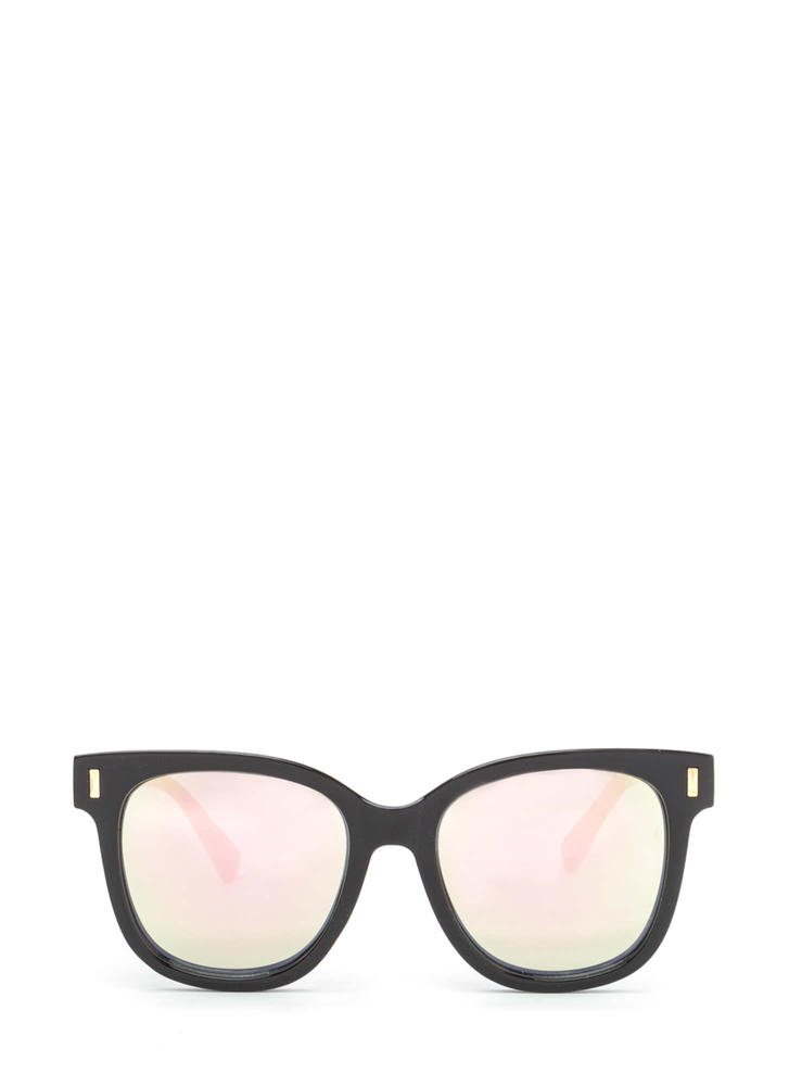 One More Glance Mirrored Sunglasses PINKBLACK
