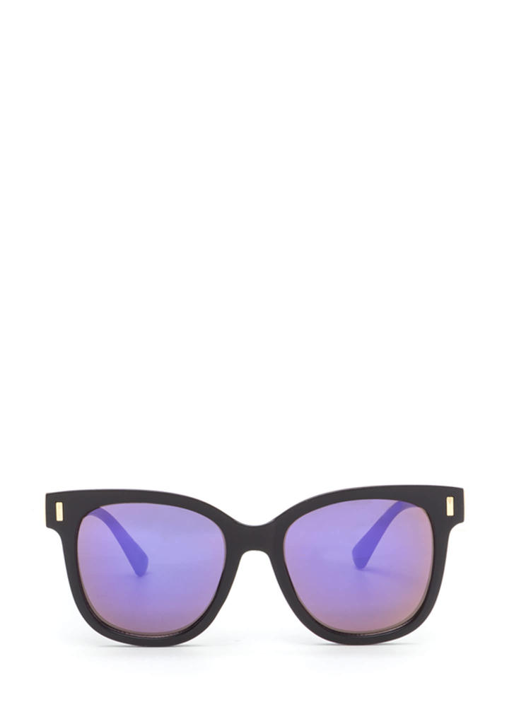 One More Glance Mirrored Sunglasses PURPLEBLACK