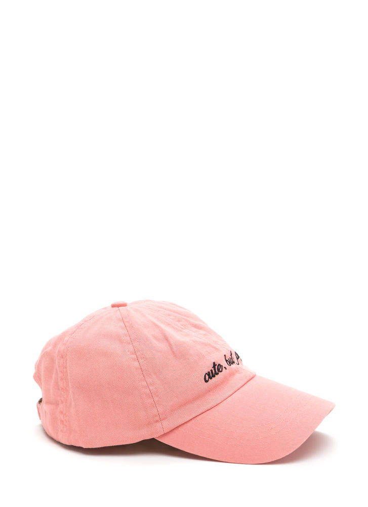 Cute But Psycho Embroidered Baseball Cap PINK