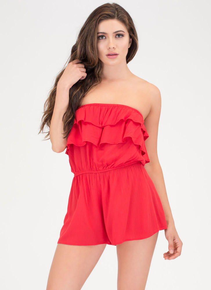 Ruffled Edges Strapless Romper POPPYRED