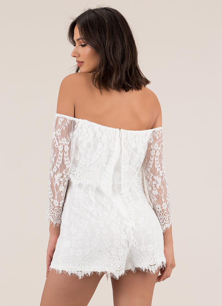 Lace Forward Off-Shoulder Romper WHITE
