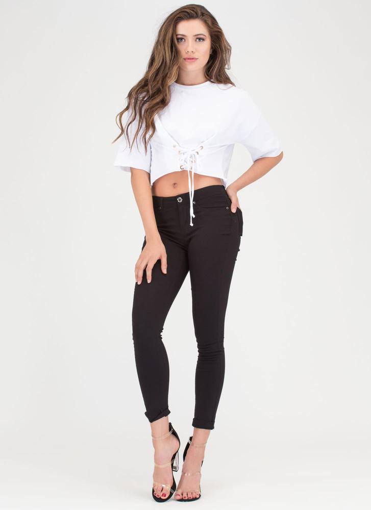Yes Of Corset Lace-Up Crop Top WHITE