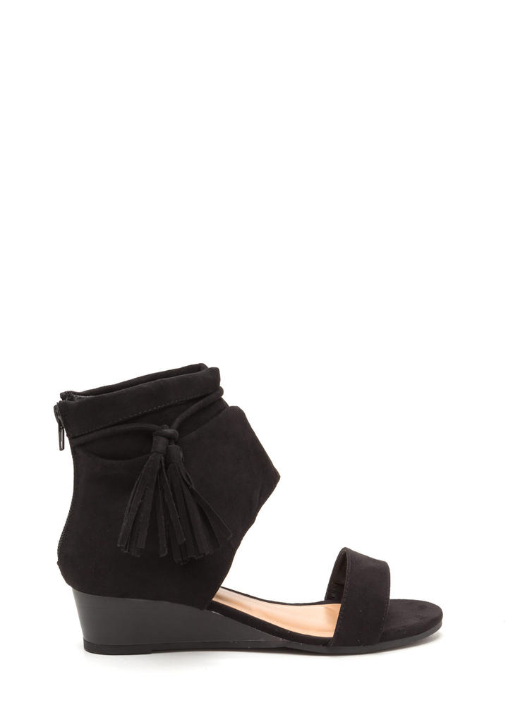 Two To Tassel Faux Suede Cut-Out Wedges BLACK