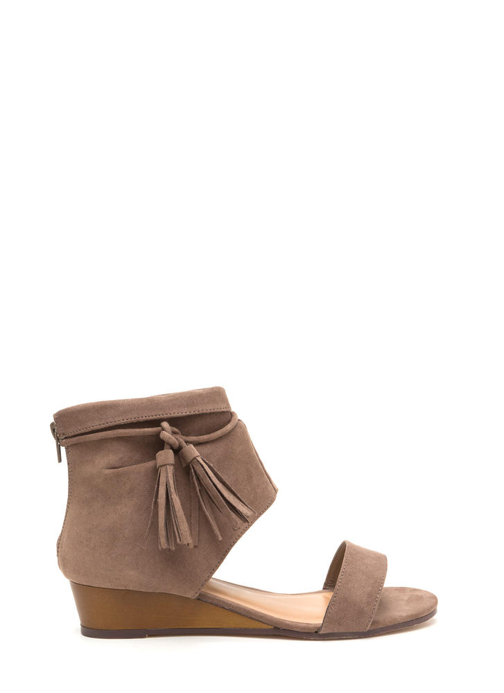 Two To Tassel Faux Suede Cut-Out Wedges TAUPE