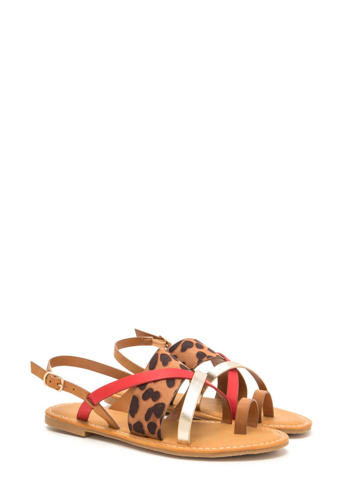 Cross Paths Strappy Leopard Sandals MULTI