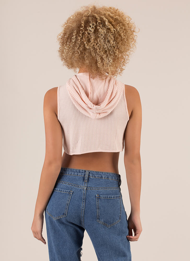 About To Cave Cropped Knit Hoodie BLUSH