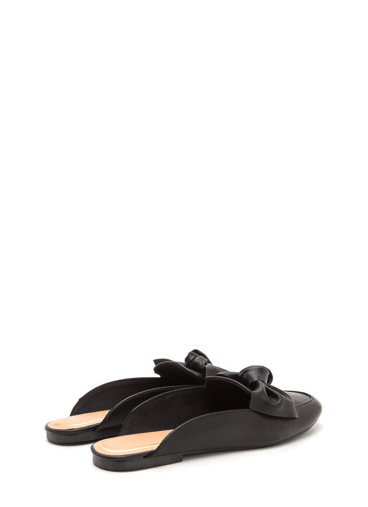 On The Bow Faux Leather Mule Flats BLACK