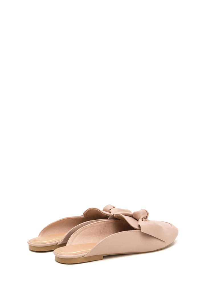 On The Bow Faux Leather Mule Flats BLUSH