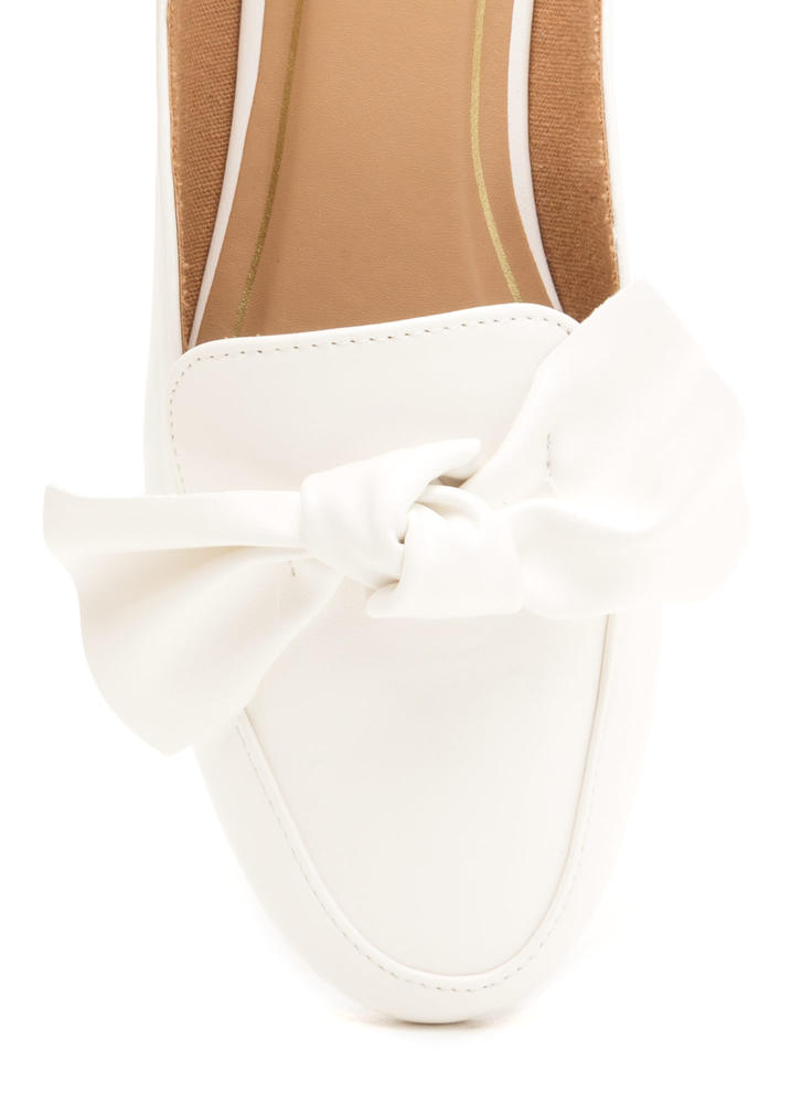 On The Bow Faux Leather Mule Flats WHITE