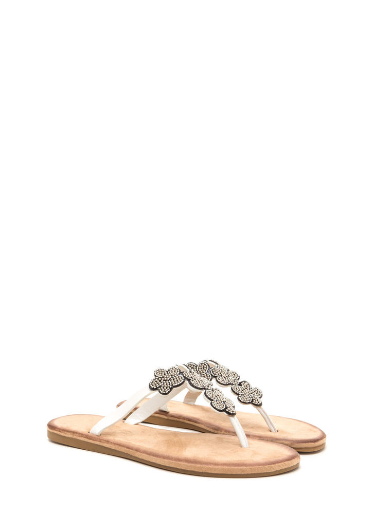 Bead Me Floral Thong Sandals WHITE (Final Sale)