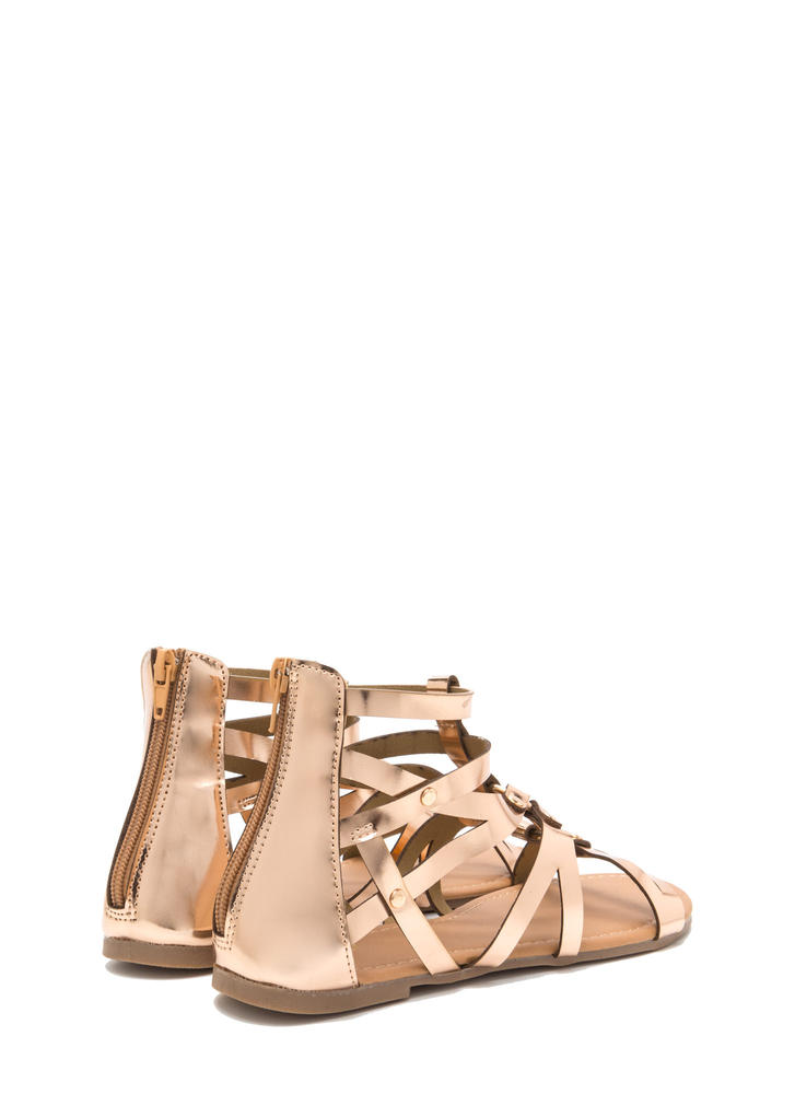 Roman Holiday Caged Metallic Sandals ROSEGOLD
