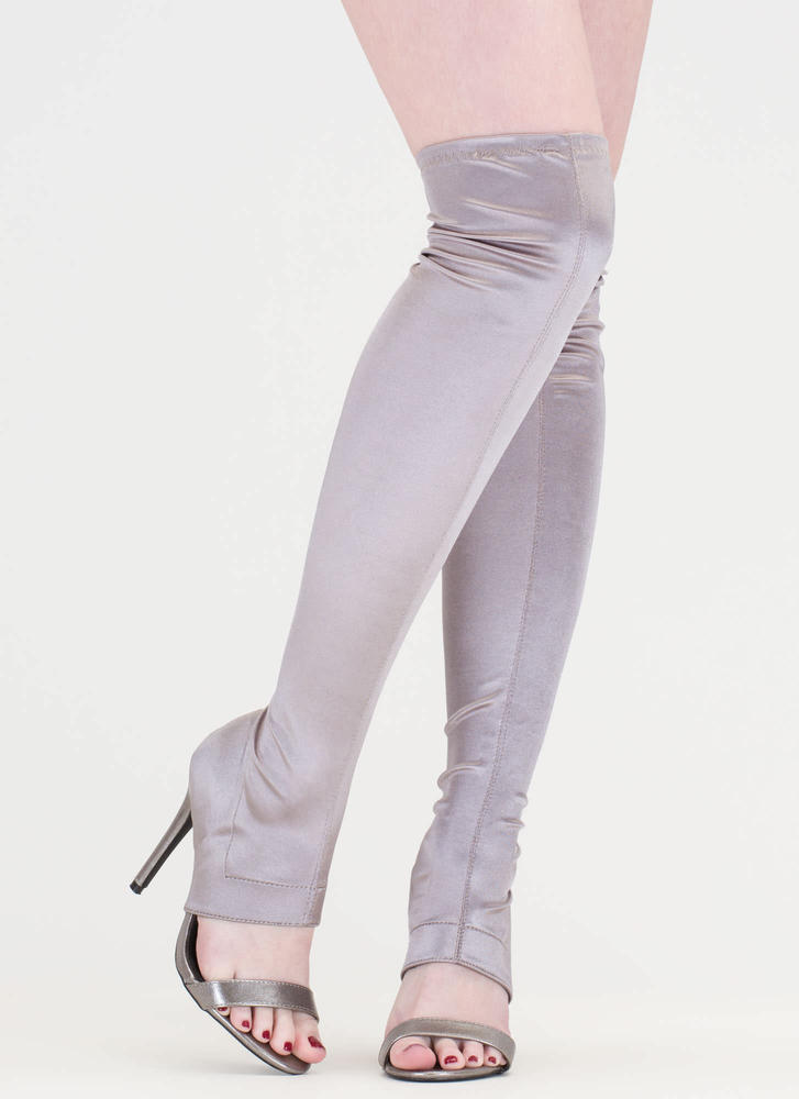 Epic Night Cut-Out Satin Stiletto Boots PEWTER