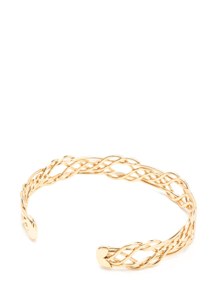 Intertwined Lives Wire Cuff Bracelet GOLD