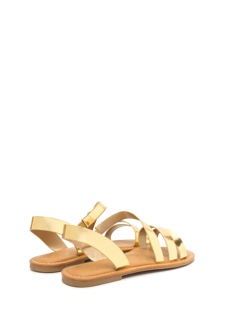 Picture Perfect Strappy Metallic Sandals GOLD