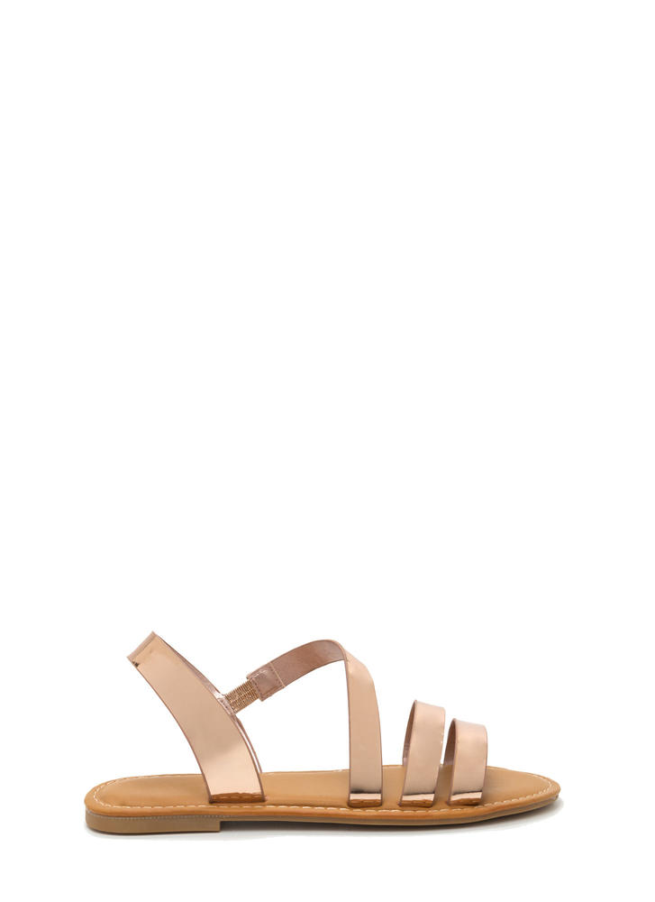 Picture Perfect Strappy Metallic Sandals ROSEGOLD