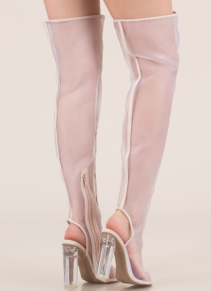 Sheer Me Roar Chunky Thigh-High Boots NUDE