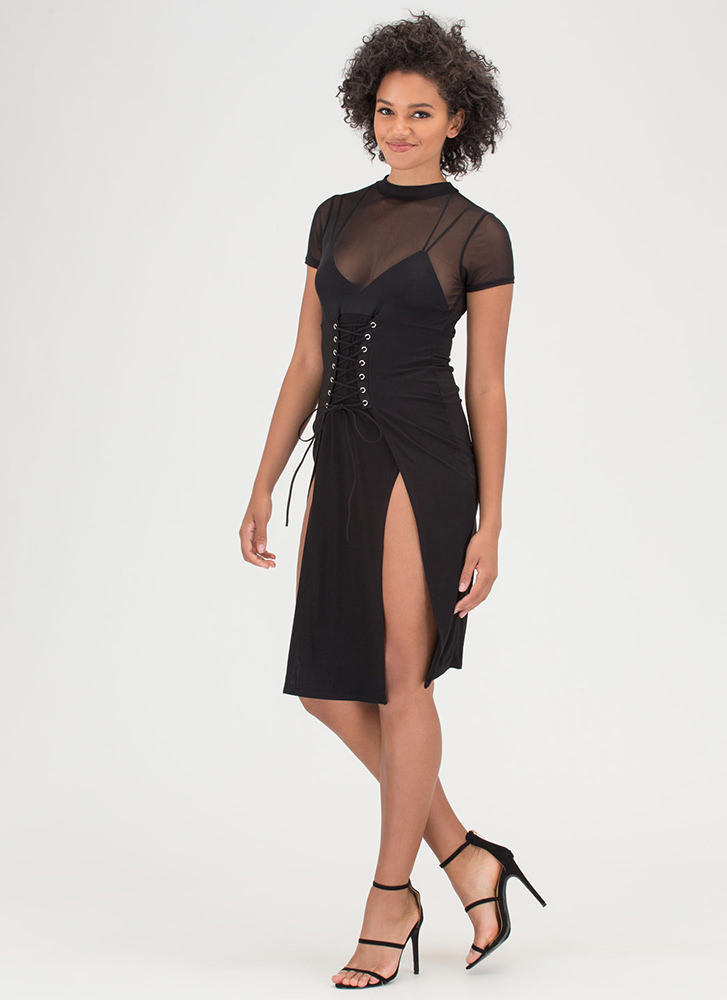 Tied Down Sheer Double Slit Midi Dress BLACK (You Saved $22)