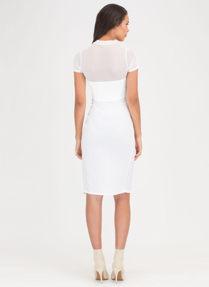 Tied Down Sheer Double Slit Midi Dress WHITE (You Saved $22)