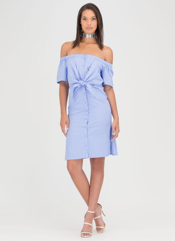 Picnic Date Tied Off-Shoulder Dress BLUE