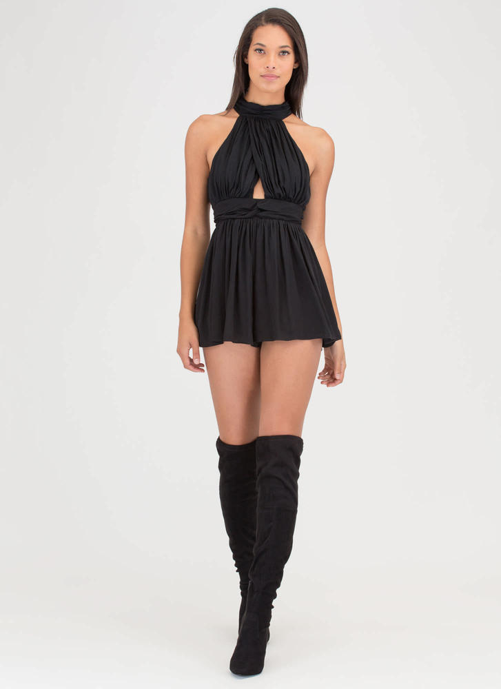 Stylish Gathering Cut-Out Romper BLACK