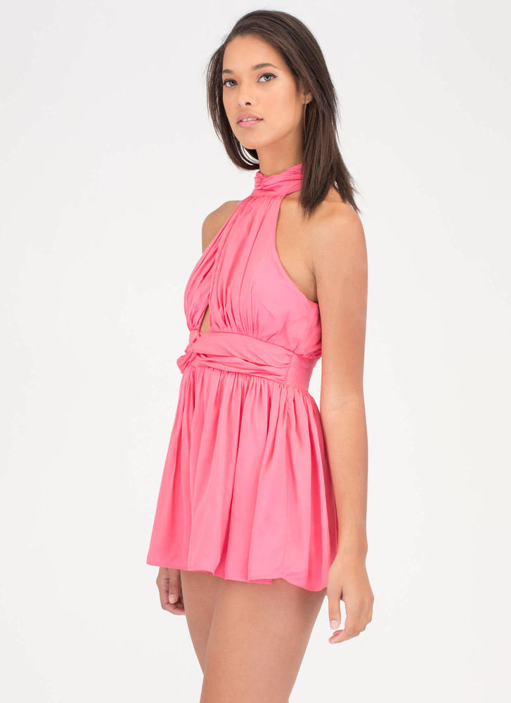 Stylish Gathering Cut-Out Romper CORAL