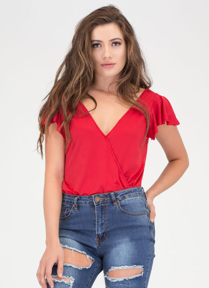 Flutter About Ruffle Sleeve Bodysuit RED