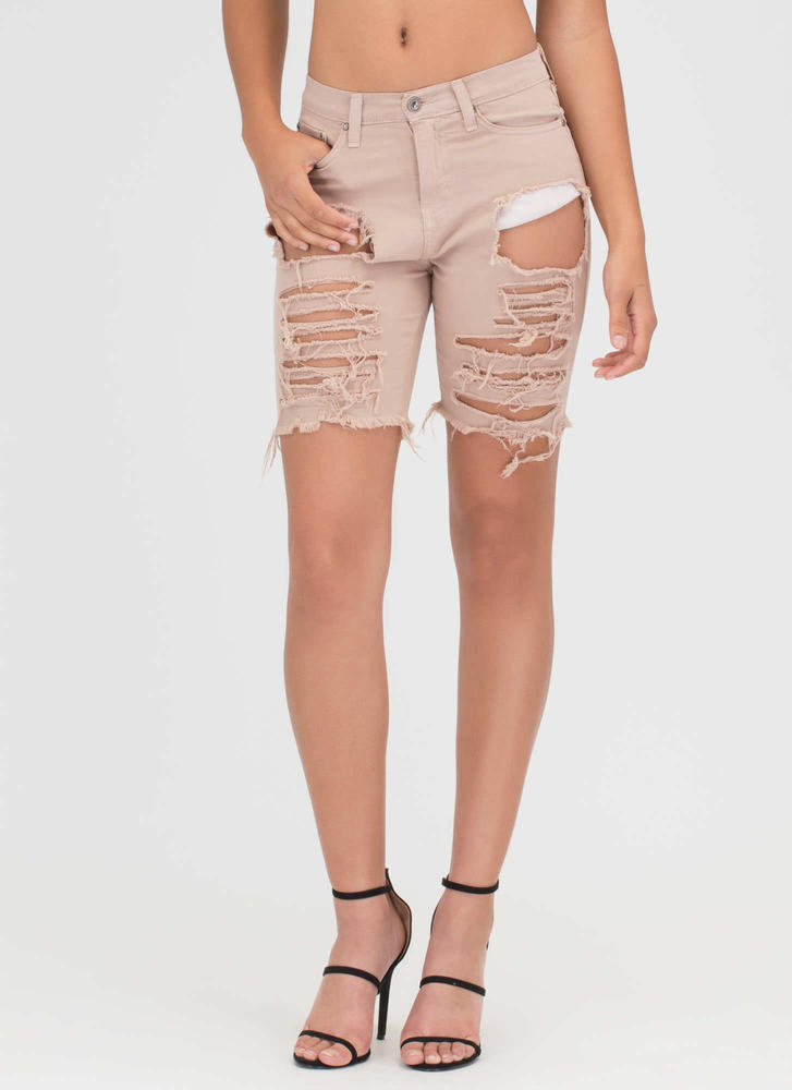 In Distressed Denim Bermuda Shorts KHAKI