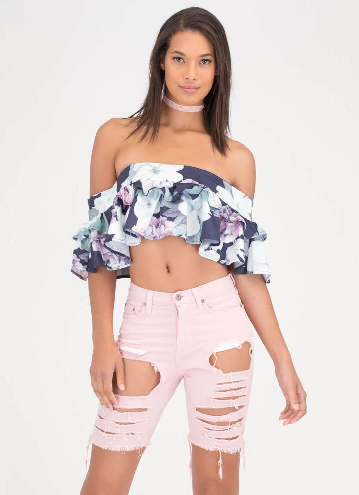 In Distressed Denim Bermuda Shorts PINK
