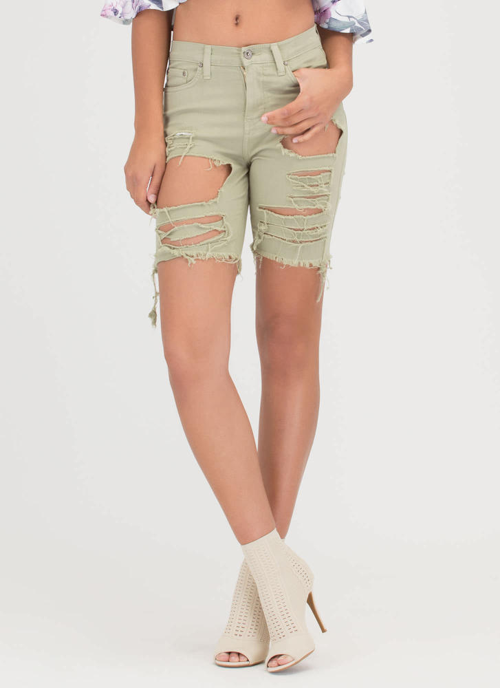 In Distressed Denim Bermuda Shorts SAGE