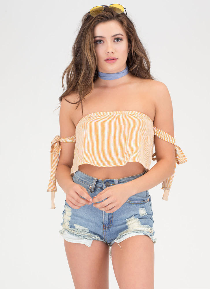 Draw The Line Off-Shoulder Crop Top MUSTARD