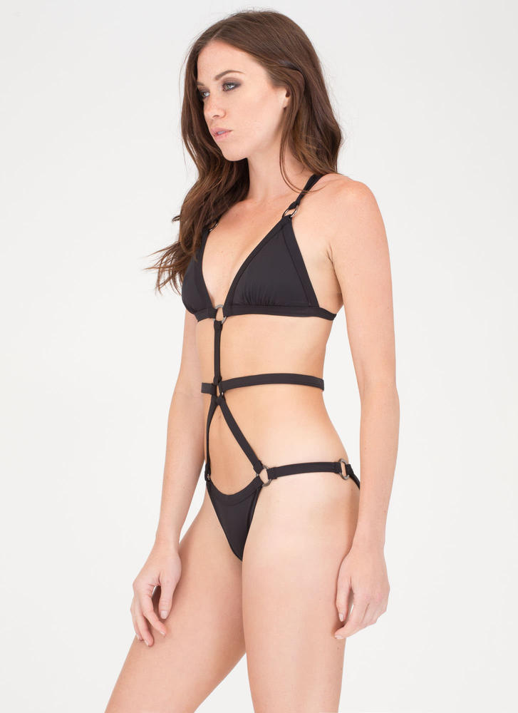 Poolside Chic Caged One-Piece Swimsuit BLACK (Final Sale)