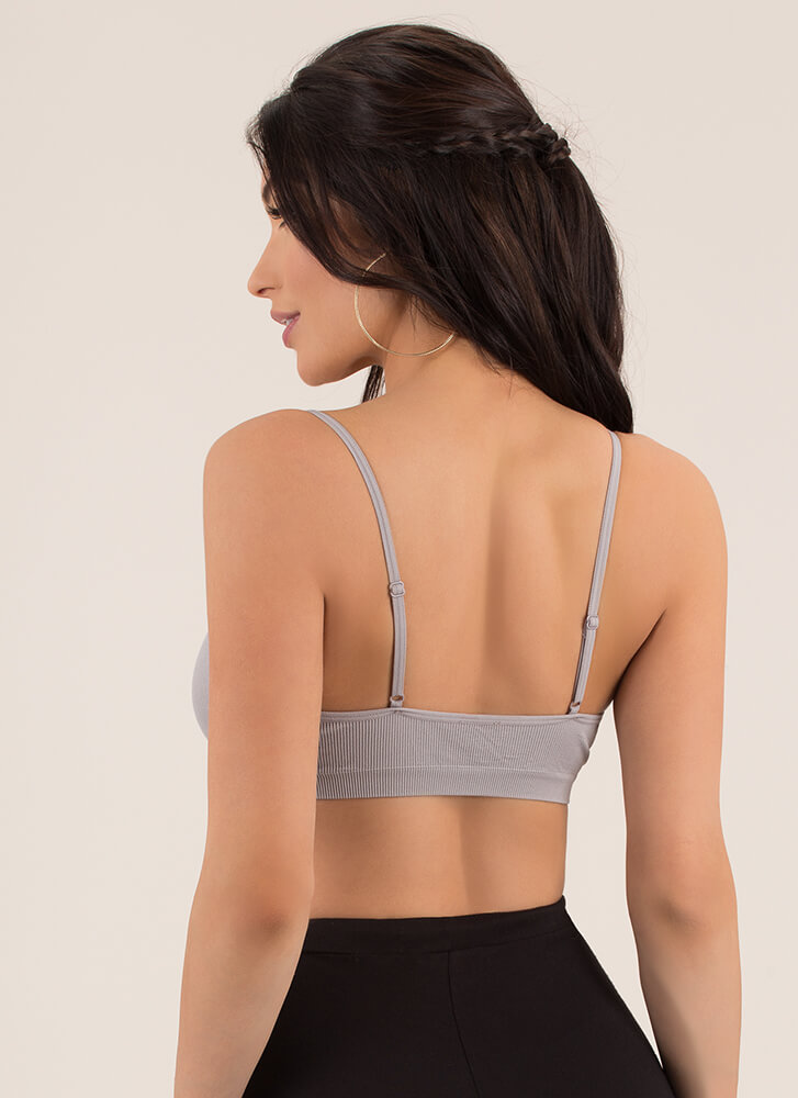 Vital Bae-sic Cut-Out Ribbed Bralette GREY
