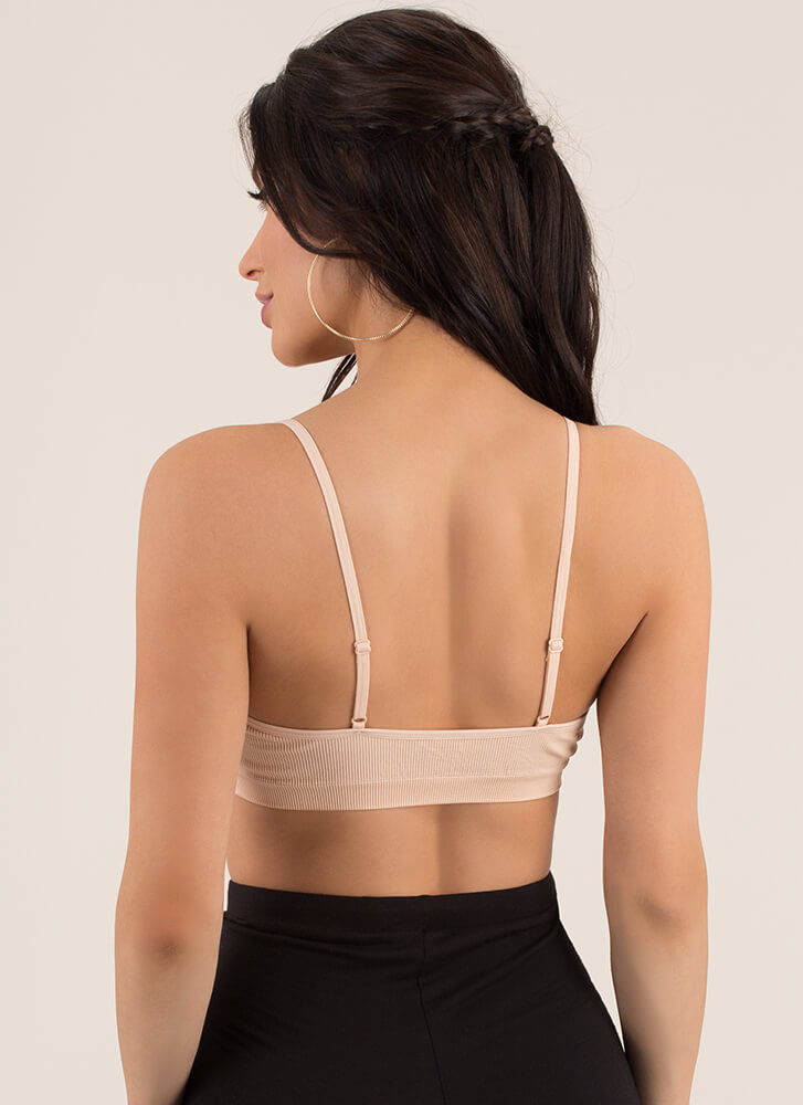 Vital Bae-sic Cut-Out Ribbed Bralette NUDE