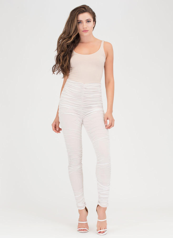 aa95d3a9ff37 Celeb Style Ruched Mesh Jumpsuit WHITE BLACK - GoJane.com