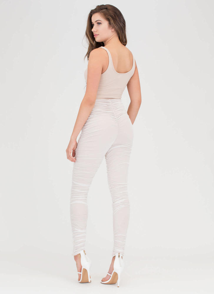 Celeb Style Ruched Mesh Jumpsuit WHITE