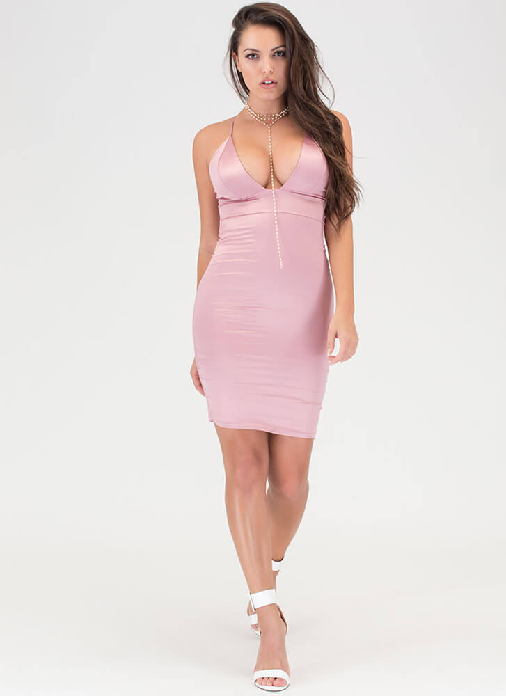 The Silky Way Strappy Plunging Dress MAUVE