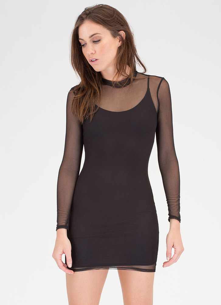 Sheer For You Bodycon Minidress BLACK