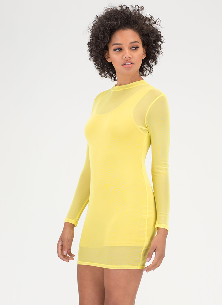 Sheer For You Bodycon Minidress YELLOW
