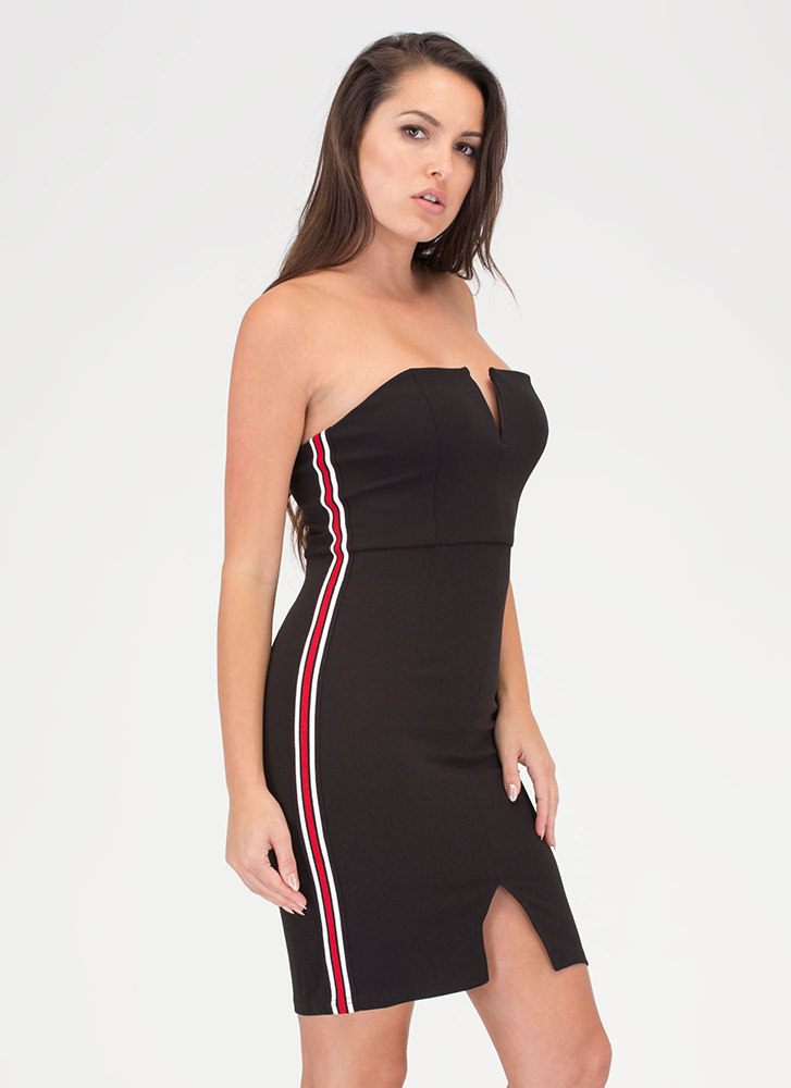 Sporty Chic Striped Strapless Minidress BLACK