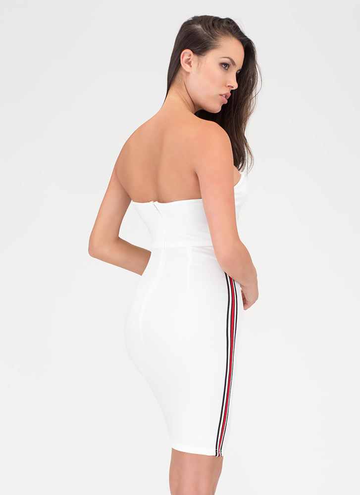 Sporty Chic Striped Strapless Minidress WHITE