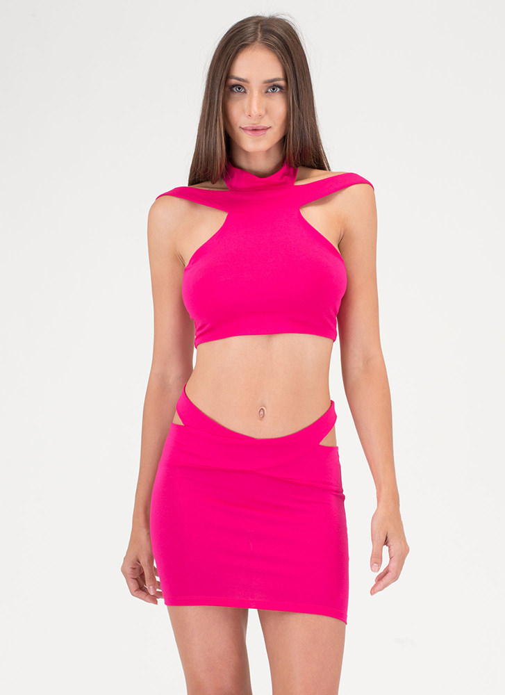 Cocktail Hour Cut-Out Two-Piece Dress FUCHSIA