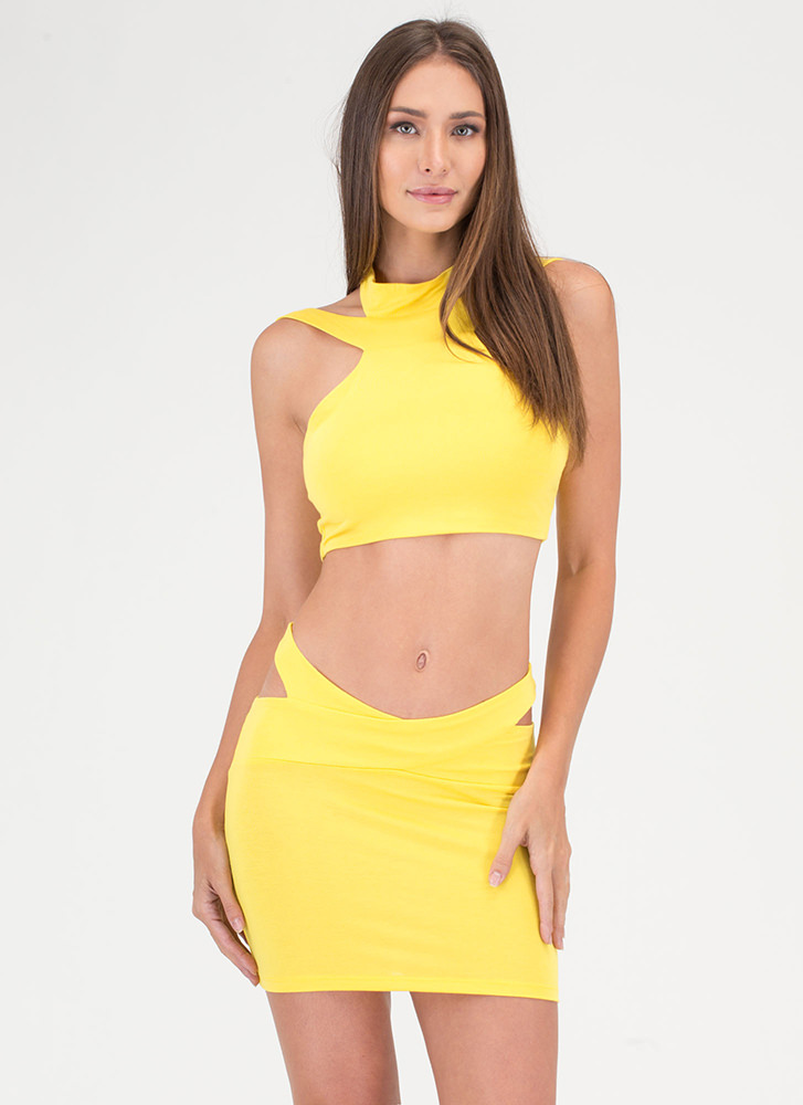 Cocktail Hour Cut-Out Two-Piece Dress YELLOW