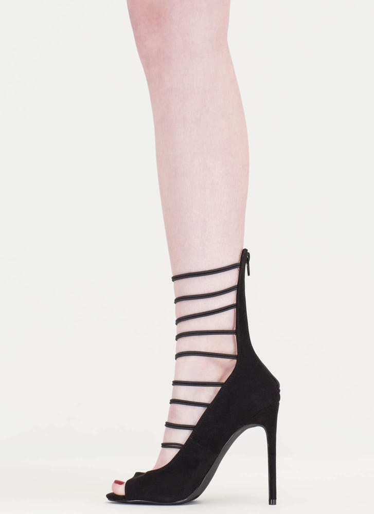 Fashion Fantasy Caged Faux Suede Heels BLACK