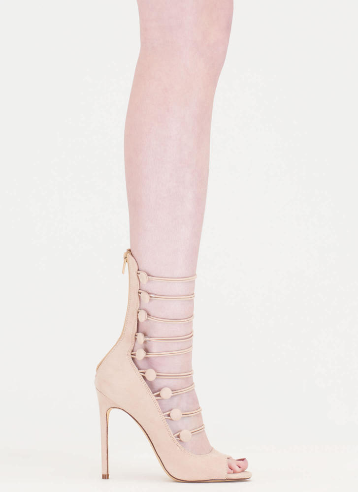 Fashion Fantasy Caged Faux Suede Heels NUDE