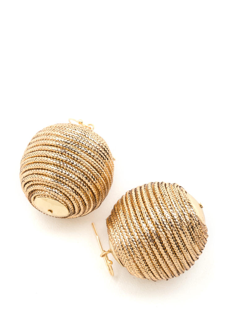 Right Cord Wrapped Ball Earrings GOLD