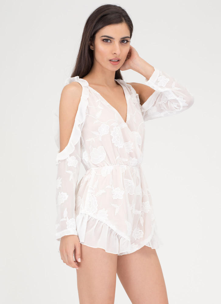 Fleur Life Cold Shoulder Ruffled Romper WHITE
