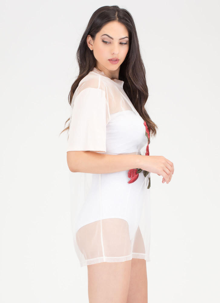 Rose Garden Embroidered Sheer Top NUDE