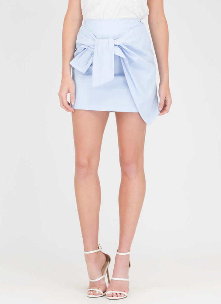 If You Pleats Tied Miniskirt LTBLUE (Final Sale)