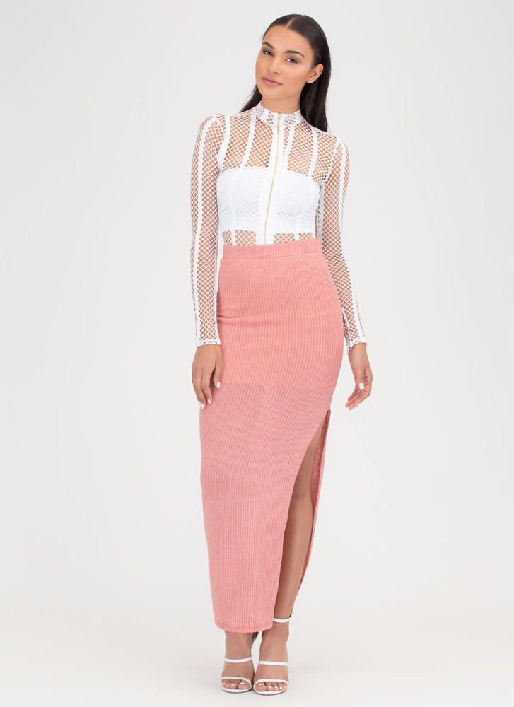 It's A Knit Ribbed Slit Maxi Skirt CORAL