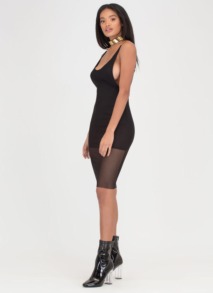 Give 'Em The Slip Sheer Mesh Dress BLACK